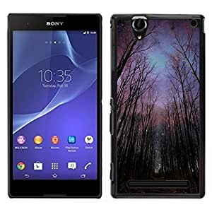 Design for Girls Plastic Cover Case FOR Sony Xperia T2 Ultra Night Forest Sky Universe Creepy OBBA