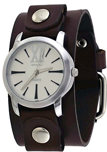 Nemesis #BGBB065S Women's Exclusive Collection Roman Brown Leather Cuff Band Watch