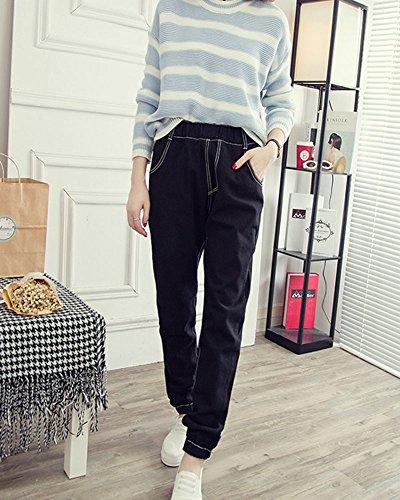 Vintage Haute Jeans Rtro Taille Femme Casual Denim Stretch Pants Noir Pantalons fn5xwq4z