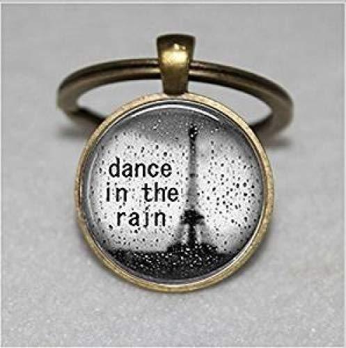 Llavero de danza en la lluvia, con cita inspiradora, llavero ...