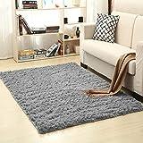 wonderfulwu Fluff Non-Slip Rug Thickened Washable Room Carpet Nursery Area Rug 4'x5.2' ft - Grey