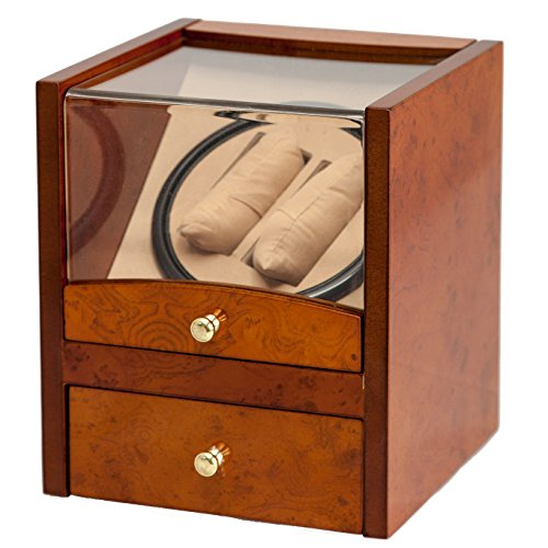 2+4 Walnut Dual / Double Watch Winder Box AC/DC & Battery Operated w/ Drawer (Watch Winders Rolex)