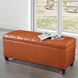 VisionXPro, Inc. Royal Comfort Collection Luxury Storage Bench Ottoman Orange