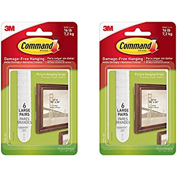 Command Picture Hanging Strips, Large, White, 6-Pairs (17206-6ES) WEZOxz, 2 Pack