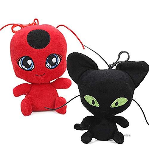 FiraDesign Ladybug Plagg & Tikki Cat Noir Plush Toys Adrien Marinette Stuffed Animal Doll - 2Pcs/Set ()