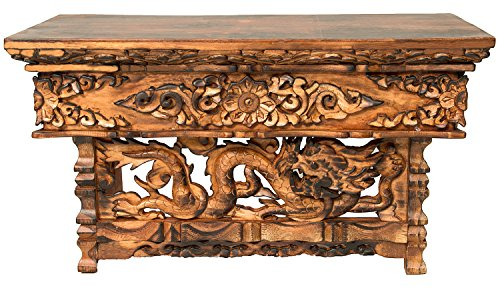 Tribe Azure Fair Trade Hand Carved Altar Table Small Meditation Puja Sheesham Wood Unique Dragon by Tribe Azure Fair Trade (Image #1)