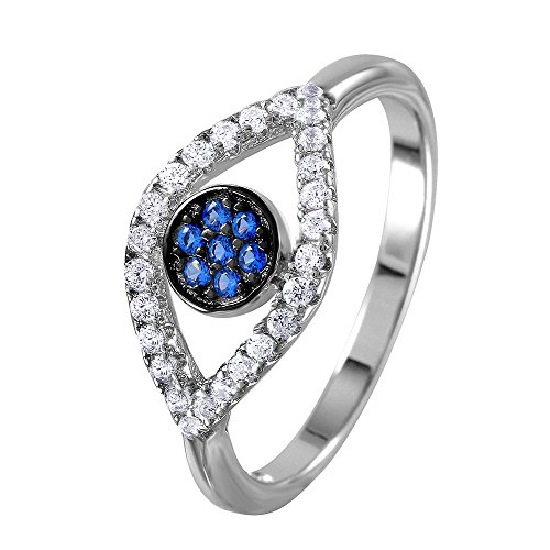 (Princess Kylie Blue and Clear Evil Eye Open Shank Designer Ring Rhodium Plated Sterling Silver Size 9)