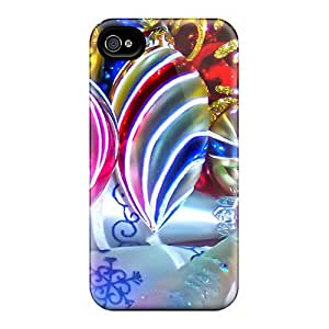 Anti-scratch And Shatterproof Colorful Christmas Balls Phone Case For Iphone 4/4s/ High Quality Tpu Case