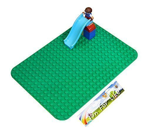 Lego-Duplo (big dot) Compatible Brick Building Base 15'' x 10'' Green Baseplate - by Fun For Life