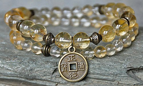 Set of two Wealth, Abundance Citrine Gemstone Bracelet,Lucky Coin Mala,Money Bracelet,Buddha Bracelet,OM Bracelet,Energy Bracelet,Sacral Chakra Healing