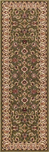 Noble Sarouk Green Persian Floral Oriental Formal Traditional Rug 3x10 ( 2'7