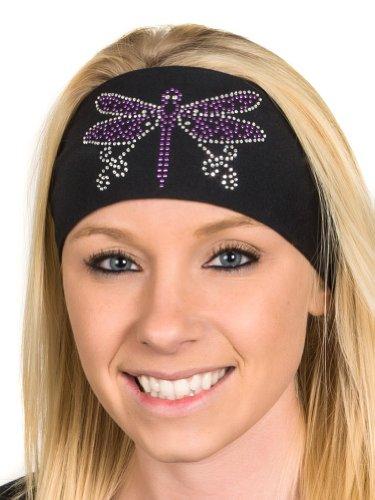 Chick Purple - Open Road Girl Head Wrap: Wide Headbands for Women: Biker Chick Headwear: Dragonfly With Rhinestones (Purple)
