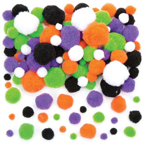 Baker Ross Halloween Pom Poms Value Pack Perfect for Halloween Children's Arts, Crafts and Decorating for Boys and Girls (Pack of 200)