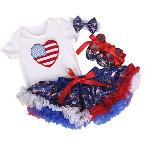 (Amberetech 1st 4th of July Baby Girl Outfit Tutu Dress Party Costume Cotton Short Sleeve 4pcs Clothing Set (Style 4 - Heart, 3-6 Months))