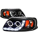 Ford F-150/Expedition Dual Halo Projector+LED Headlight (Black Housing Amber Reflector)