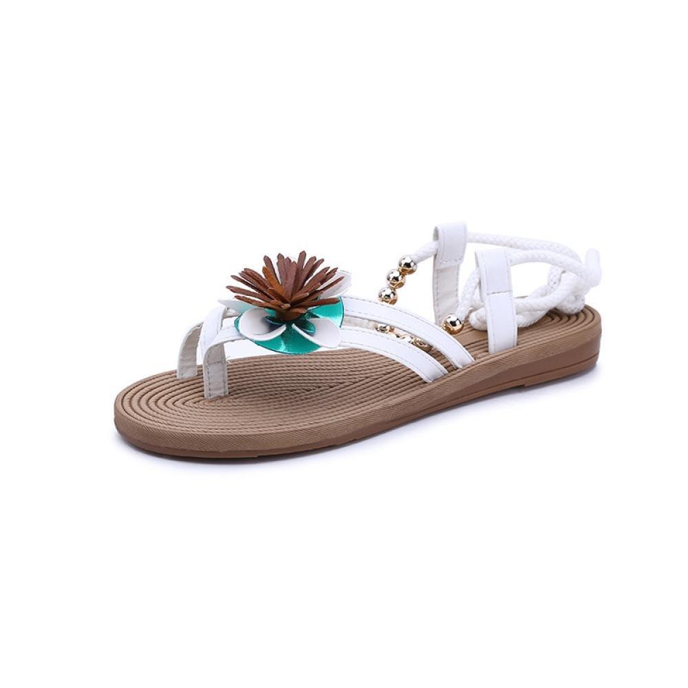 Inkach Flip-Flops Sandals, Fashion Womens Summer Bohemia Flower Flat Sandals Lace-up Ankle Wrap Shoes (38(US:6.5), White)