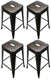 Cheap Titan 24″ Modern Metal Stacking Counter Bar Stool – Set of 4 (Bronze)
