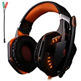KOTION EACH G2000 Gaming Headset Earphone 3.5mm jack with LED Backlit and Mic Stereo Bass Noise Cancelling for Computer Game Player by SENHAI(Black + Orange) For Sale