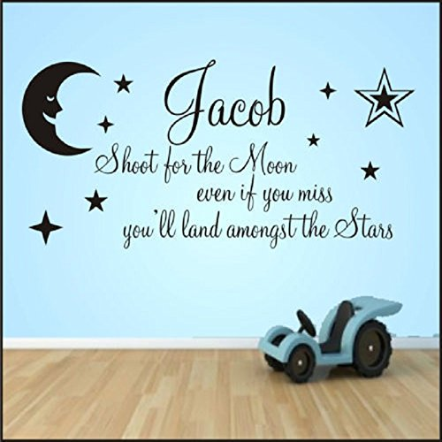 Amazoncom New Cute Customized Name Shoot For The Moon Stars Quote