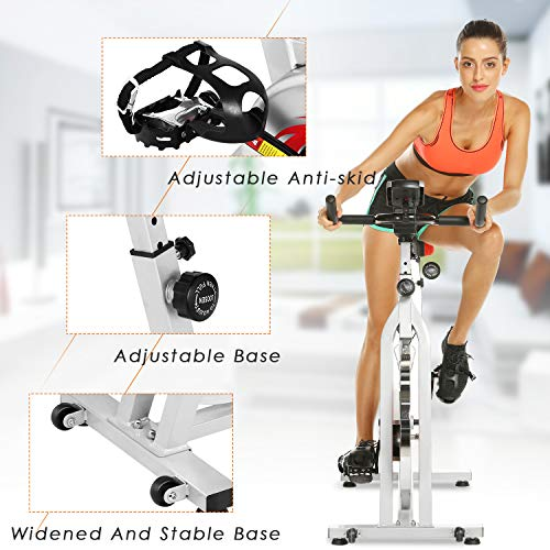 ANCHEER Stationary Bike, Indoor Cycling Exercise Bike 40 LBS Flywheel (Sliver_NO Pulse) by ANCHEER (Image #7)