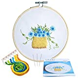 Caydo Flower Basket Embroidery Starter Kit Including Embroidery Cloth with Printed Pattern, Bamboo Embroidery Hoop, Colored Thread, Instructions for Beginner