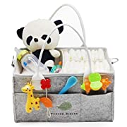 Baby Diaper Caddy Organizer by Runyon Wishes | Car Storage Travel Bag | Best Shower Gift | Newborn Basket for Changing Table | Portable Organizer of Diapers, Wipes, Clothes, Pacifier and Nursery Gifts