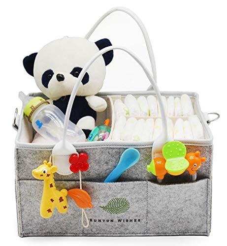 Baby Diaper Caddy Organizer by Runyon Wishes | Car Storage Travel Bag | Best Shower Gift | Newborn Basket for Changing Table | Portable Organizer of Diapers, Wipes, Clothes, Pacifier ()