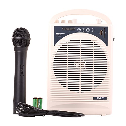 "Upgraded Pyle Professional Portable PA System, Amplifier With Built-in Handheld VHF Wireless Microphone, Bluetooth, Battery Rechargeable, MP3, USB, SD, 1/4"", 3.5mm, Great for Karaoke"