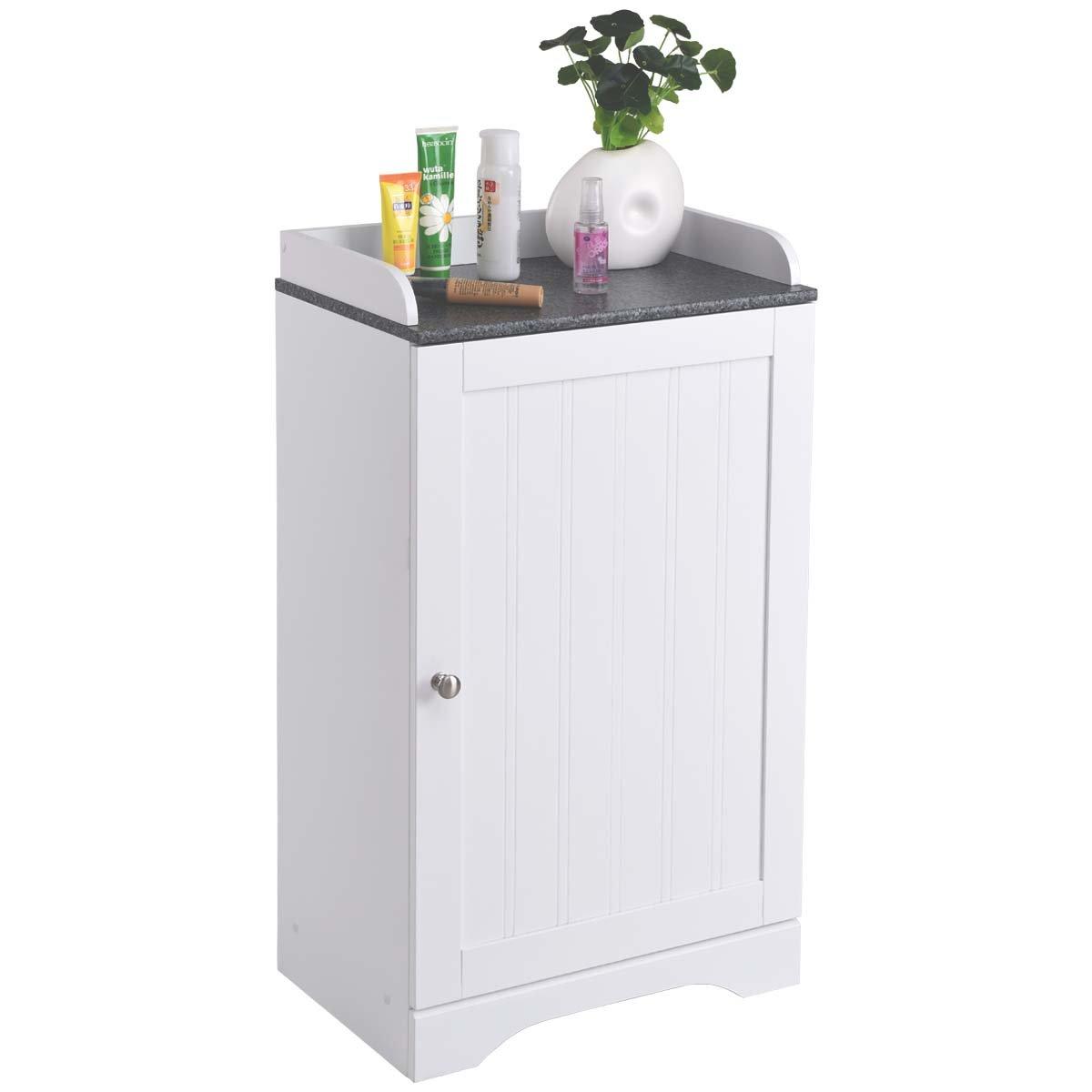Tangkula Bathroom Floor Storage Cabinet Freestanding Adjustable Shelves Organizer Single Door White Finish