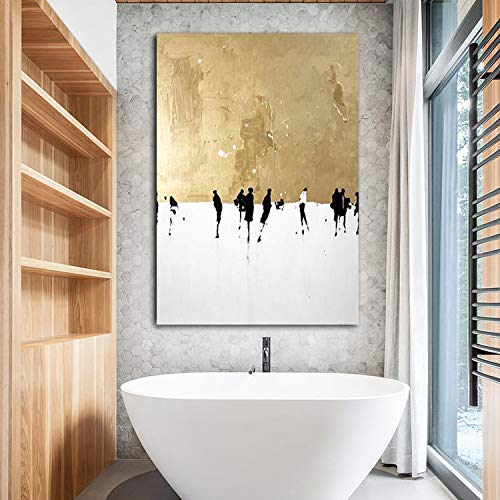 Faicai Art Abstract Metallic Gold Paintings Canvas Wall Art Thick Texture Palette Oil Paintings with White Background Modern Home Decor Pictures for Living Room Office Wall Decorations Framed 32