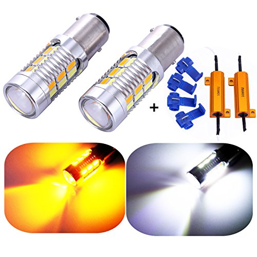 1157 2057 2357 7528 Turn Signal White/Yellow Switchback LED Light Bulbs 22 SMD with Projector, for Standard Socket, Not CK- Pair of 2 with load resistors ()