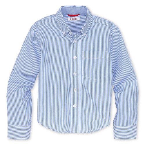 IZOD Boys Mini Stripe Oxford Button-Down Dress Shirt (Wht Blue Stripe, X-Small) Boys Stripe Oxford