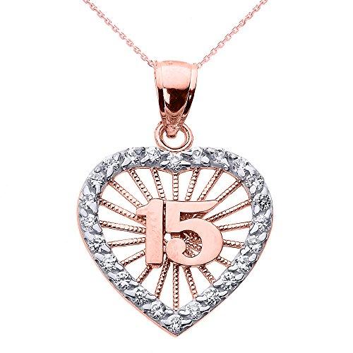 Collier Femme Pendentif 10 Ct Or Rose Suave 15 Années Quinceanera Oxyde De Zirconium Cœur (Livré avec une 45cm Chaîne)