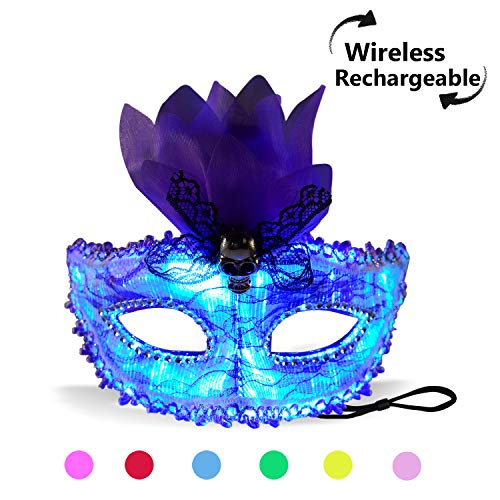 (7 Color Lights LED Light up Venetian Mask USB Rechargeable Glowing Luminous Eye Mask for Christmas Party Festival Dancing Rave Masquerade Costumes (Eye Mask))