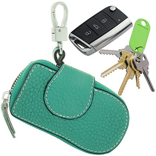 Classic New Zip Men Women Genuine Cow Leather Car Key Holder Multifunction Housekeeper High Class Motor Key Case Auto Keyless Remote Controller Cover Brand New Keyring Hook Pouch Bag (Classic Key Pouch)