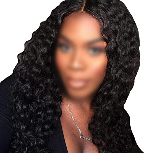 (Water Wave Lace Front Human Hair Wigs For Women #1B Black Remy Human Hair Wigs With Baby Hair Pre-Plucked,Natural)