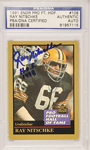 Ray Nitschke Green Bay Packers - Ray Nitschke Green Bay Packers Autographed 1991 Enor Card - PSA/DNA Certified - NFL Autographed Football Cards
