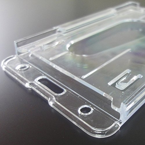 Promotion 3 Pieces 10 x 6cm Clear Vertical Hard Plastic Badge Holder Double Card ID Slot Photo #5