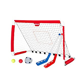 Soccer Goal and Pitchback – 3 in 1 Sports Net with Soccer Ball, Pitchback Ball, Hockey Puck & Hockey Sticks