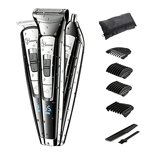 Hatteker Mens Hair Clipper Beard Trimmer Kit Nose Hair Trimmer 3 IN 1 Body Mustache Trimmer Professional Cordless Waterproof USB Rechargeable Grooming Kits for Beard Mustache Stubble Ear Nose Body Gro