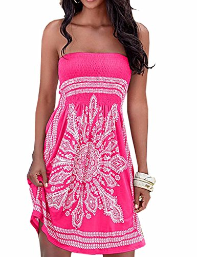 Imagine Women'S Strapless Floral Print Bohemian Casual Mini Beach Dress, Rose Red, X-LARGE ()
