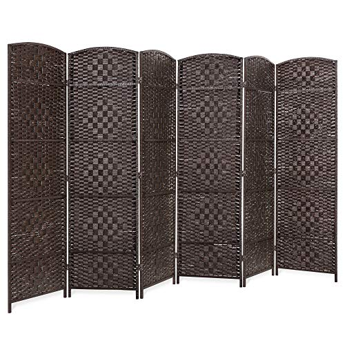Best Choice Products 70x118in 6-Panel Diamond Weave Wooden Folding Freestanding Room Divider Privacy Screen for Living Room, Bedroom, Apartment with Two-Way Hinges, Dark Mocha