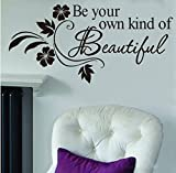 FOAL Be Your Own kind of Beautiful Decals Flower Vine Wall Sticker Art Decor, 31 x 65 cm, Black, Pack of 1 Picture