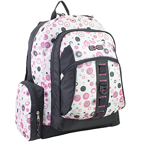 Eastsport Voyager Multi-Compartment Backpack with High Capacity Storage, Black Pink Molecular Print