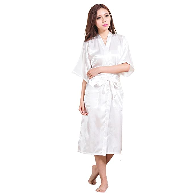 TieNew Bata Mujer Sexy y Elegante de Kimono Mujer Largo Albornoz satén Lenceria Seda, Vestido