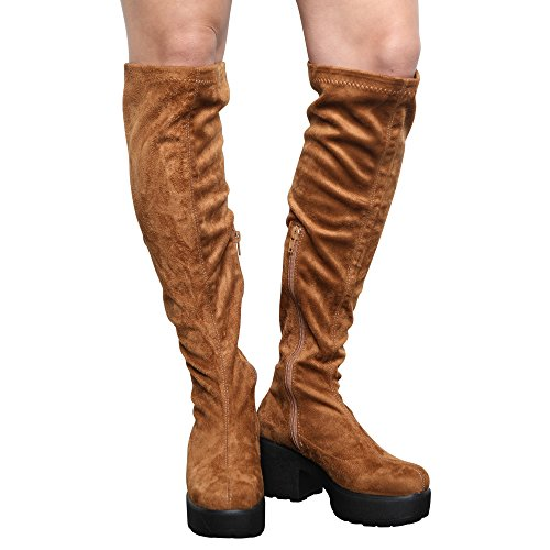 Stretch Boots Tan MID COLLECTION The Girls Platform Kids Zip Over Size Knee Block 5 10 Heel CORE Womens up 6UqxUO