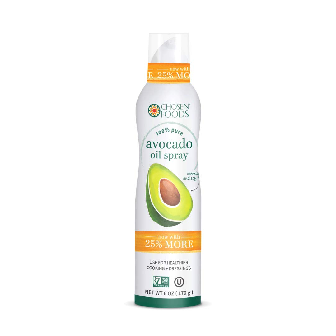 Chosen Foods 100% Pure Avocado Oil Spray 6 oz., Non-GMO, 500° F Smoke Point, Propellant-Free, Air Pressure Only for High-Heat Cooking, Baking and Frying by Chosen Foods