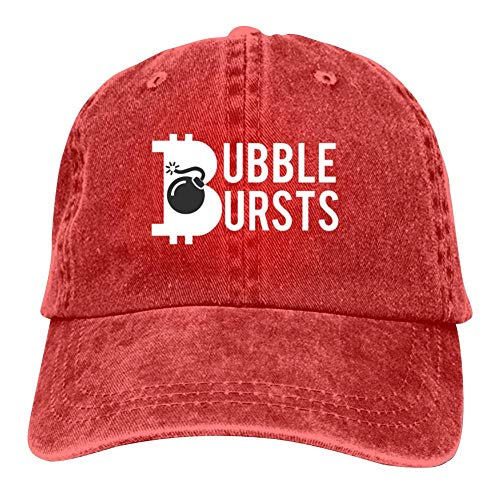 Funny Bitcoin Design Washed Adjustable Jeans Caps Baseball Caps for Adult Unisex Red