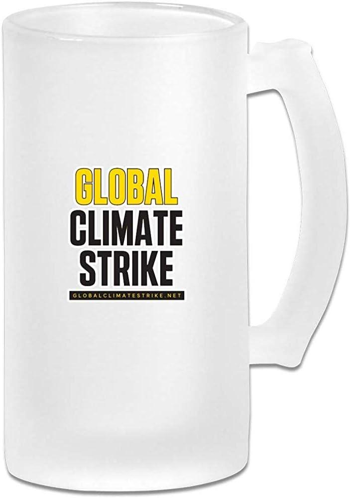 Global Climate Strike Cristalería para bares Impreso 16.9 Oz Copa de cerveza de vidrio esmerilado Taza con asas Bebidas Vaso de jugo