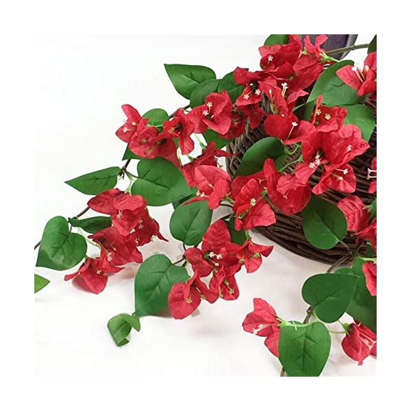jiumengya 10pcs Silk Bougainvillea Glabra Climbing Bougainvillea Flower Artificial Bougainvillea Tree Branches 31.5″ for Wedding Centerpieces (red)
